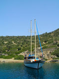 Yacht moored in Aegean sea stock photography