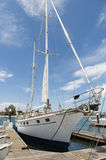 Yacht moored at dock Royalty Free Stock Photography