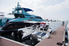 The Yacht moored at dock and saled Royalty Free Stock Photo