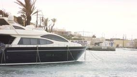 Yacht moored at Manoel Island Marina in Malta.  stock video