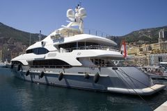 Yacht Moored in Monaco. Luxury yacht moored in Monaco with a beautiful blue sky Stock Images