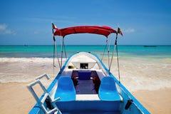 Yacht moored in Playa Paraiso, Mayan Riviera,. Mexico Royalty Free Stock Photos