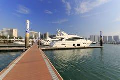 Yacht moored by pontoon in the wuyuanwan marina. Luxury yacht in wuyuanwan bay, xiamen city, china Royalty Free Stock Photo
