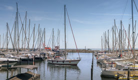 Yacht moored in port of city Groemitz, Northern Germany, coast of Baltic Sea am 09.06.2016 Stock Images