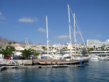 Yacht Moored in the Harbour Port of Puerto Colon Tenerife Canaries Royalty Free Stock Photo