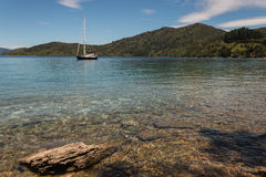 Yacht moored in Queen Charlotte Sound Royalty Free Stock Photo