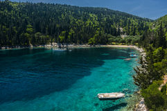 Yacht moored in secluded idyllic greek bay. Kefalonia Stock Photos