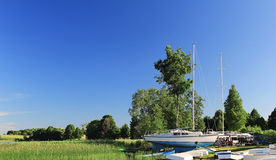 Yacht Moored To The Shore Royalty Free Stock Photography