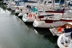 Yacht mooring. In Cancale, Brittany, France stock images