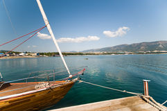 The yacht at a mooring. Stock Photo