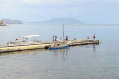 The yacht on the mooring in the Crimea Stock Photography