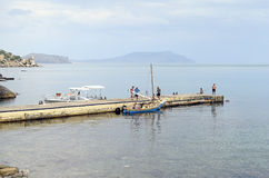 The yacht on the mooring in the Crimea Royalty Free Stock Image