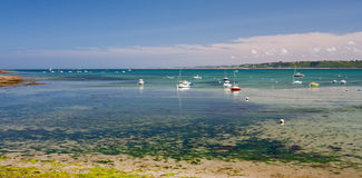 Yacht mooring during egg. In Perros-Guirec, France royalty free stock photos