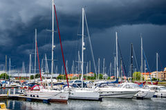 Yacht or motor boat at harbor Stock Image