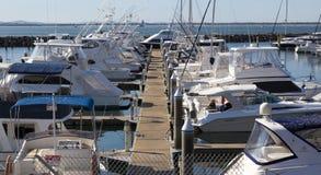 Yacht or motor boat moored at marina. Nelson Bay.  Stock Image