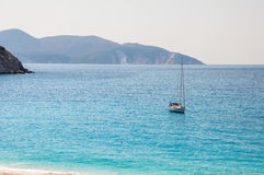 Yacht at the Myrtos beach on Kefalonia island. Greece Stock Image