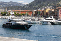 Yacht named Blue Vision departs from a harbor of Nice Stock Images