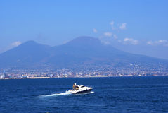 Yacht and Naples Royalty Free Stock Photos