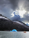 Yacht in  the national park Torres del Paine Royalty Free Stock Images