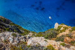 Yacht Navagio beach in Greece island Zakynthos Stock Photography