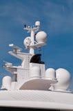 Yacht navigation system antennas. Navigation system antennas of big white motor yacht Stock Photo