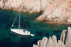 Yacht near Sardinia coast Royalty Free Stock Images