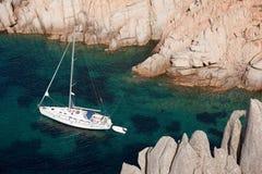 Yacht near Sardinia coast Royalty Free Stock Images