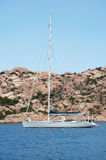 Yacht near Sardinia coast Royalty Free Stock Photos