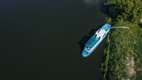 yacht near the shore on the river in the Amazon jungle stock photos