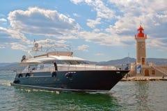 The yacht near St. Tropez Lighthouse Stock Photos