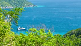Yacht near the tropical island. View from the mountain. Thailand, Similan stock video