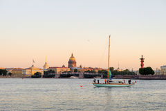 Yacht on Neva River, St. Petersburg, Russia Royalty Free Stock Photography