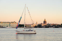 Yacht on Neva River, St. Petersburg, Russia Royalty Free Stock Images