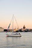 Yacht on Neva River, St. Petersburg, Russia Stock Photo