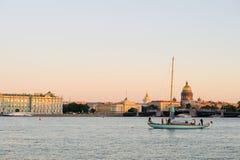 Yacht on Neva River, St. Petersburg, Russia Royalty Free Stock Photo