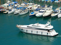 Yacht in Nice port. Amazing yacht and boats in Nice port, France Royalty Free Stock Photo