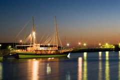 Yacht in the night. In bay Stock Image