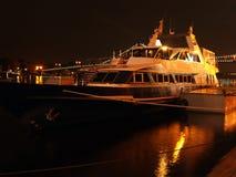 Yacht at night Royalty Free Stock Photo
