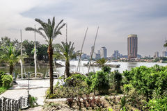 Yacht on the Nile in Cairo, Egypt. View of Cairo from the Nile Stock Images