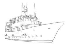 Yacht o vetor, navio da silhueta do contorno no fundo branco, desenho preto e branco para o livro para colorir ilustração stock