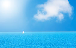 Yacht and  ocean. Yacht and blue water ocean Royalty Free Stock Photo