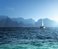Yacht and ocean Krabi province Royalty Free Stock Images