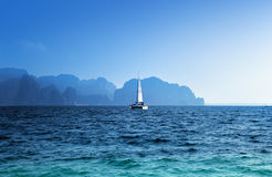 Yacht and ocean Krabi province Royalty Free Stock Photos