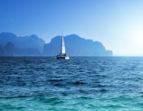 Yacht and ocean Krabi province Stock Photos