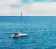 Yacht in the ocean. Yacht sailing in the ocean Stock Photo