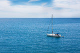 Yacht in the ocean. Yacht sailing in the ocean Stock Images