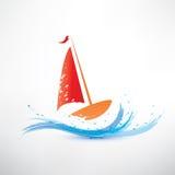 Yacht- och havvåg stock illustrationer