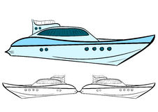 Yacht och kontur vektor illustrationer