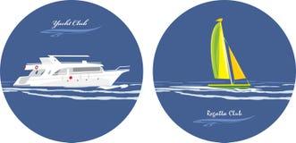 Yacht och regattaklubba. Symboler för design stock illustrationer