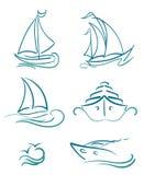 Yacht- och segelbåtsymboler stock illustrationer